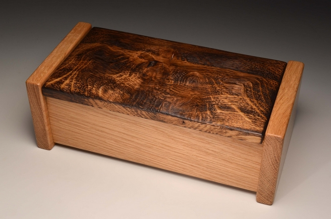 Handmade Torched Oak trinket box 0066