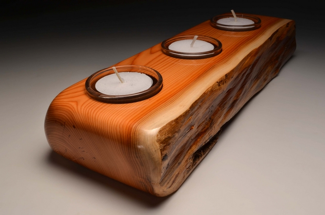 Solid Yew triple tealight (VT 14)
