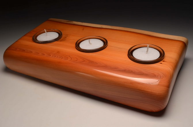 A handmade triple tealight from solid Yew (VT15)