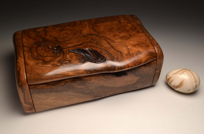 A Burr Walnut handmade bureau box No.0168