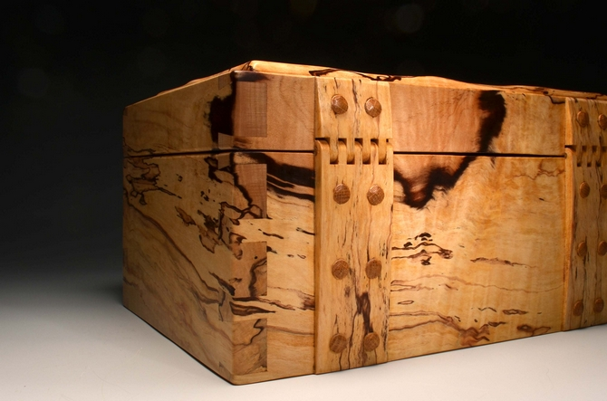 A Handmade jewellery box from solid Spalted Beech - No. 211/002