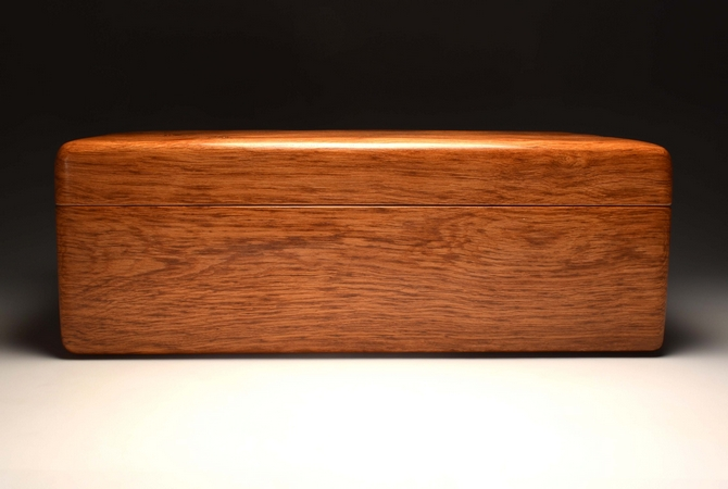 A Brown Oak handmade jewellery chest No. 212/002