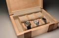A Handmade watch box in Sycamore with Walnut inlays No.0016